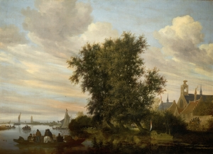 Salomon van Ruysdael's River Landscape wit a Ferry, a Yacht, and other Vessels, with a View of Gorinchem in the Distance, 1647